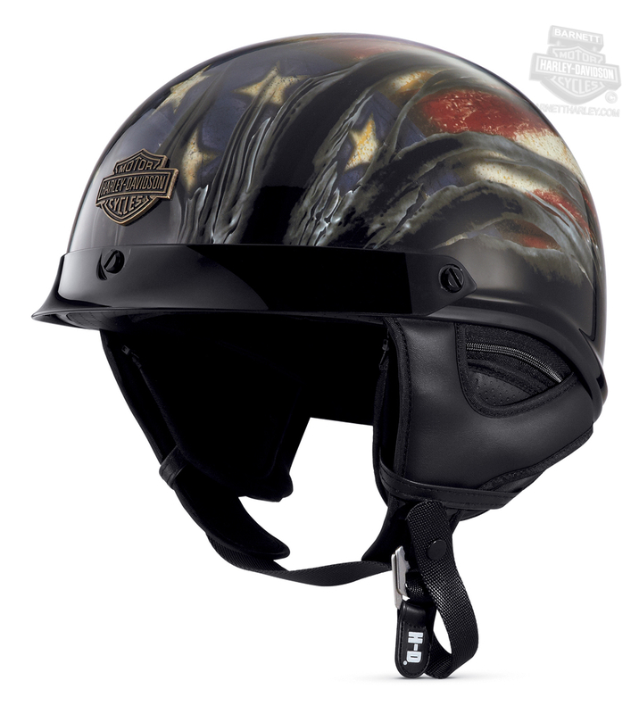 Harley-Davidson® Mens Aura Americana Ultra-Light J02 with Sun Shield Gloss Black Half Helmet