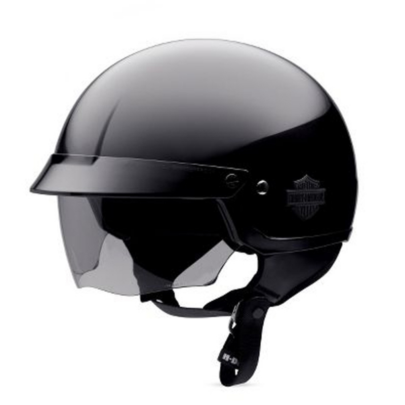 Harley-Davidson® Mens Retractable Sunshield Gloss Black Half Helmet