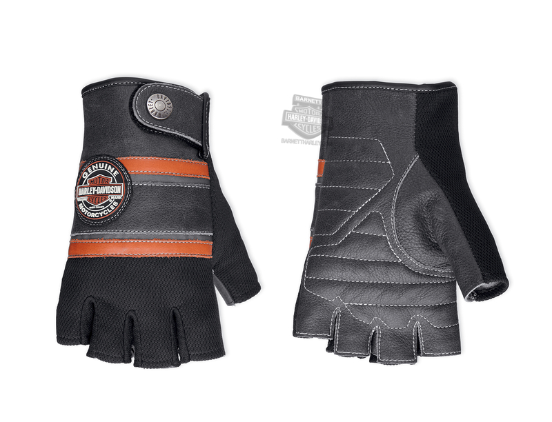 Harley-Davidson® Mens Trademark B&S Patch with Coolcore™ Technology Black Leather Fingerless