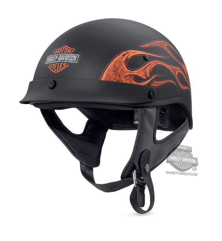 Harley-Davidson® Mens Wheeler B&S with Flames M04 Matte Black Half Helmet