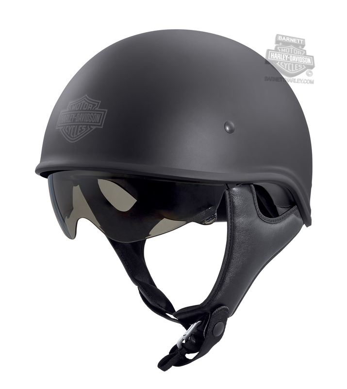 Harley-Davidson® Mens Curbside B&S Low Profile Sun Shield X06 Matte Black Half Helmet