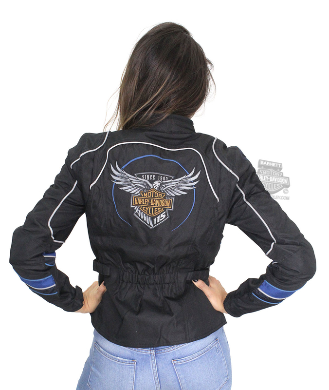 ** BIG SIZES ONLY ** Harley-Davidson® Womens 115th Anniversary Reflective Riding Black Functional Jacket
