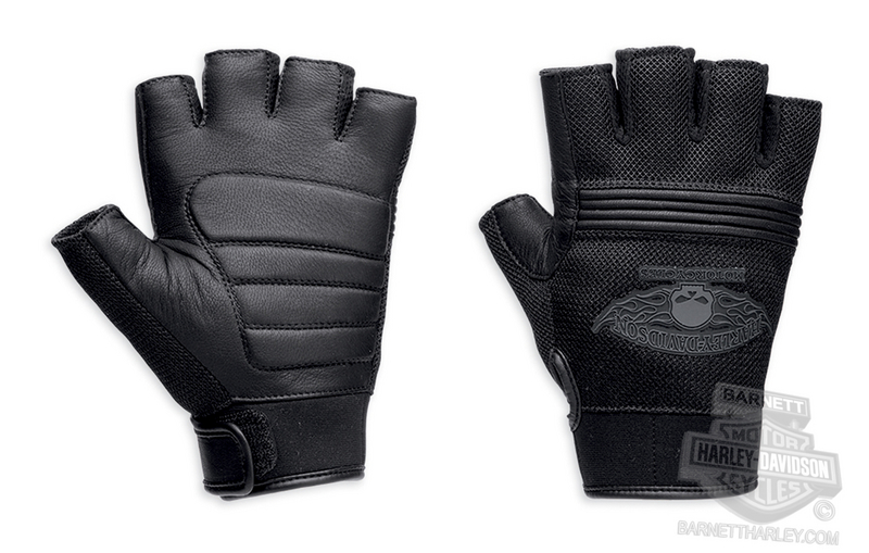 Harley-Davidson® Mens Winged Skull Mesh with Leather Palm Fingerless Glove