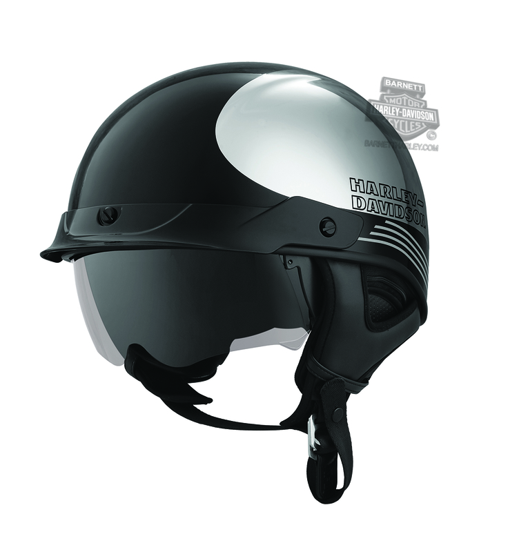 Harley-Davidson® Mens Big Twin Chrome J03 Black Half Helmet