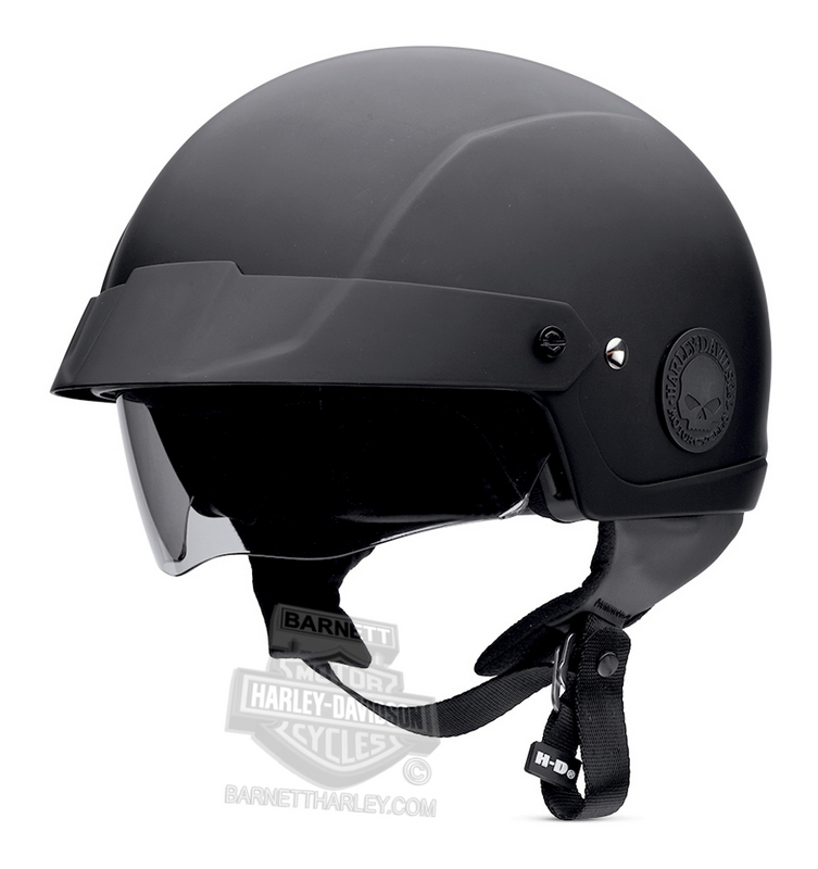 Harley-Davidson® Mens Cross Roads Retractable Sun Shield with Interchangeable Disks Matte Black Half Helmet
