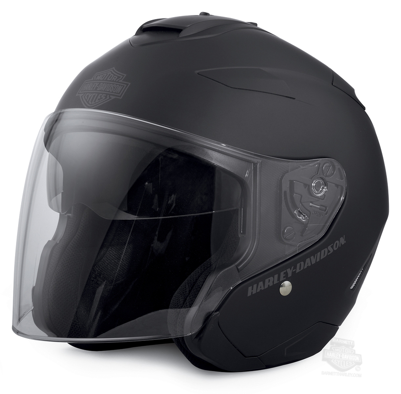 Harley-Davidson® Mens Maywood B&S Interchangeable H27 with Sun Shield Matte Black 3/4 Face Helmet