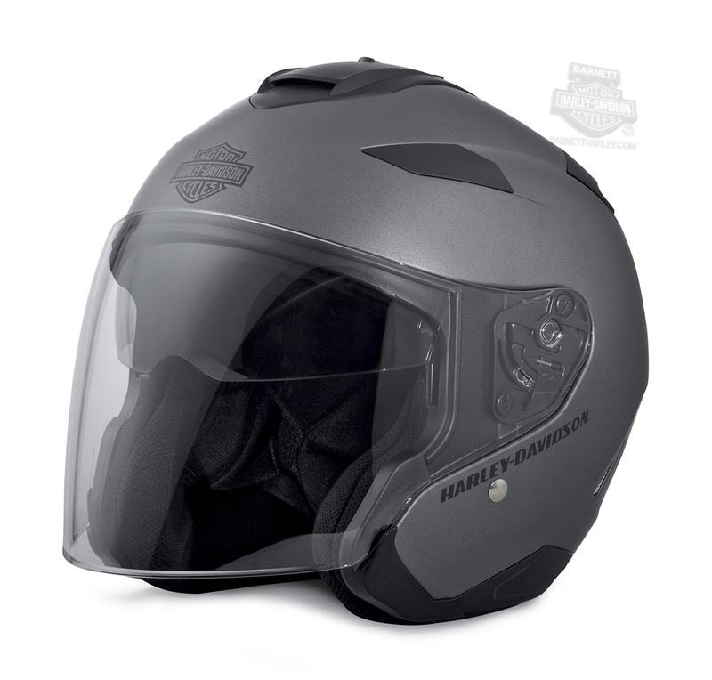 Harley-Davidson® Mens Maywood B&S Interchangeable H27 with Sun Shield Matte Silver 3/4 Face Helmet