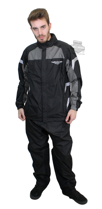 Harley-Davidson® Mens Full Speed Winged B&S Reflective Black Rain Suit