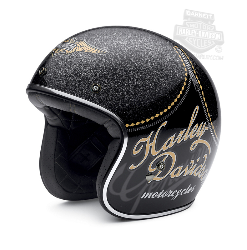 ** SIZE X-SMALL ONLY ** Harley-Davidson® Womens Tantalus Retro Trademark B&S Gloss Black 3/4 Face Helmet *CI1*