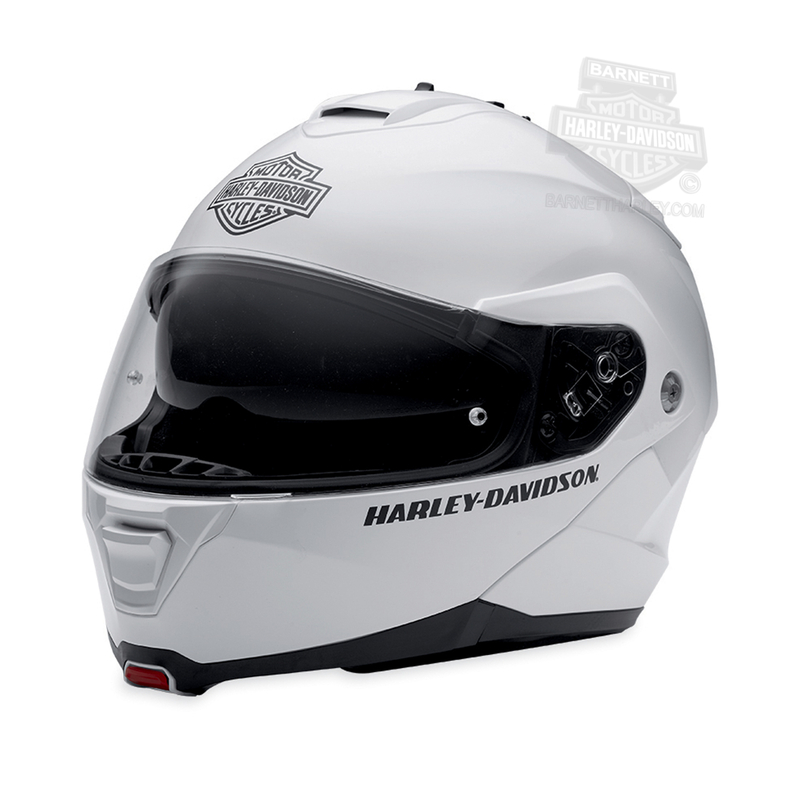 ca681de7 Harley-Davidson® Mens Capstone B&S Retractable Sun Shield White Full Face  Modular Helmet