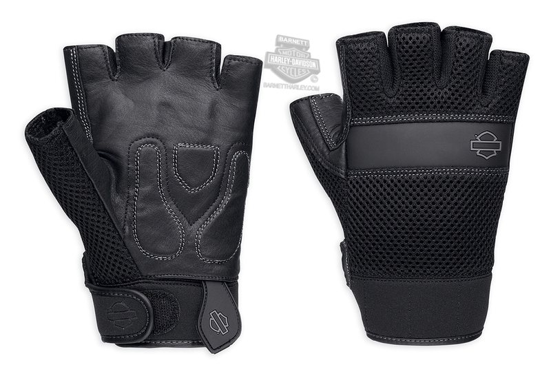 Harley-Davidson® Mens Removable Pad B&S Logo Mesh Black Leather Fingerless