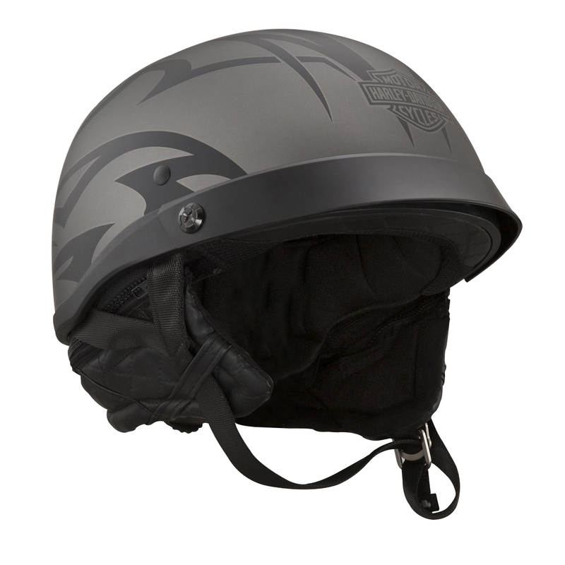 ** SMALL SIZES & 2X ONLY ** Harley-Davidson® Mens Tribal with B&S Adjustable Fit Grey Half Helmet *CI1*