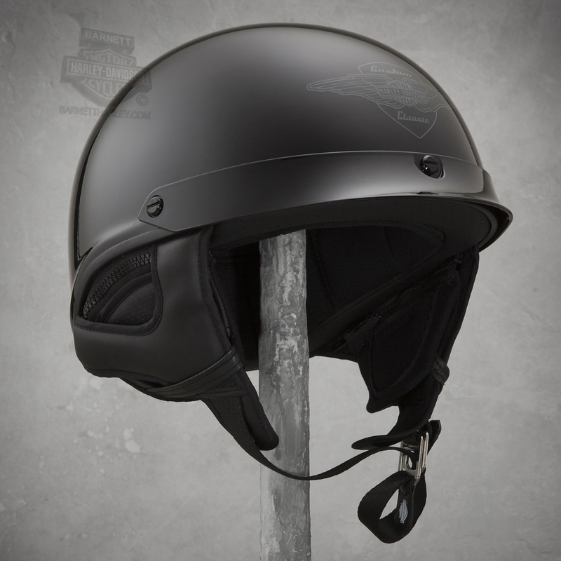 Harley-Davidson® Mens Sunder Ultra-Light Winged B&S J02 Gloss Black Half Helmet