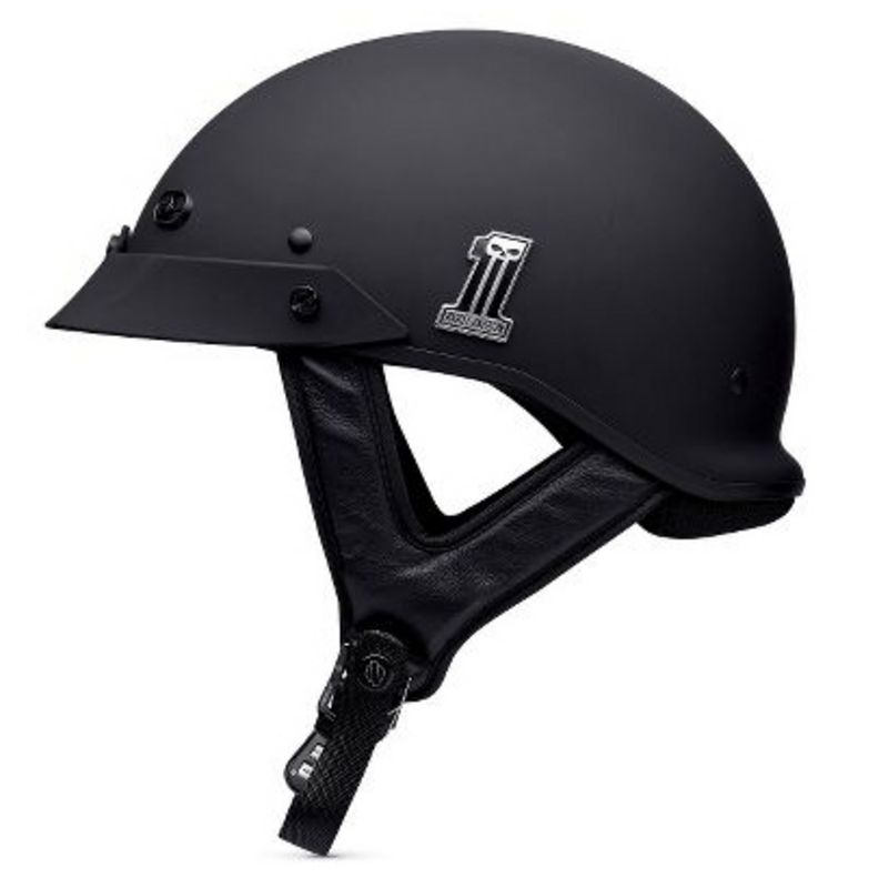 ** SMALL SIZES ONLY ** Harley-Davidson® *GMAR* Mens #1 Skull Spoiler Flat Black Half Helmet