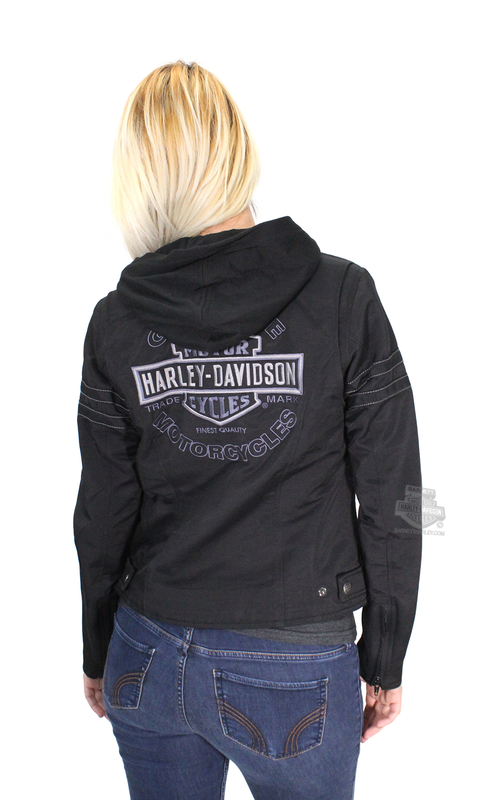 Harley-Davidson® Womens Miss Enthusiast 3-In-1 Black Casual Cotton Blend Jacket