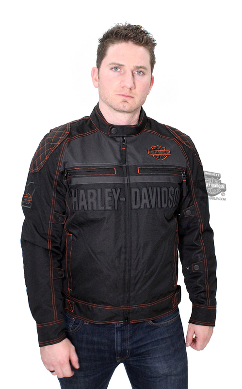** MEDIUM & BIG SIZES ONLY ** Harley-Davidson® Mens Tailgater B&S Textile and Mesh Reflective with Zip Out Liner Black Functiona