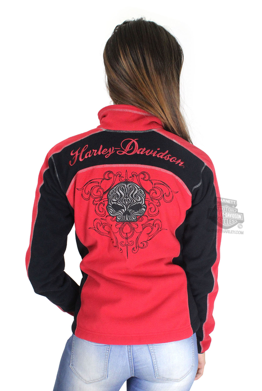 ** SMALL & BIG SIZES ONLY ** Harley-Davidson® Womens Scroll Willie G Skull Windproof Fleece Red Casual Jacket