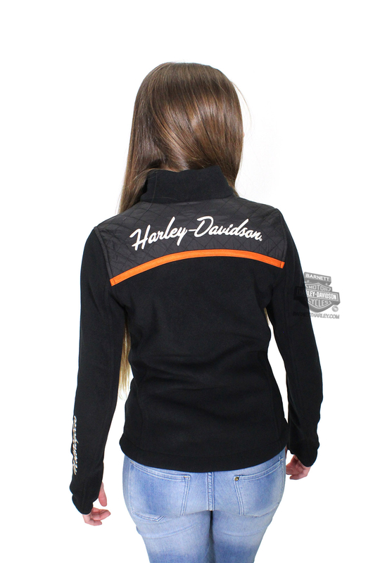 Harley-Davidson® Womens Miss Enthusiast B&S Mock Neck Fleece Black Casual Jacket