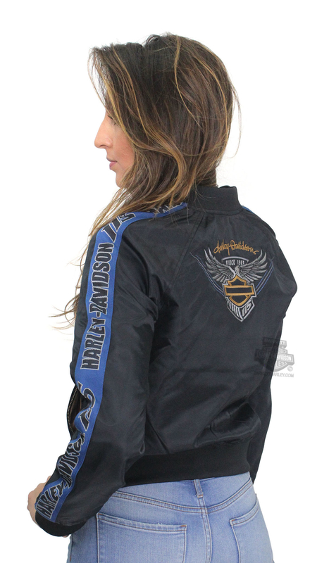 Harley-Davidson® Womens 115th Anniversary Bomber Black Casual Jacket *36HR*