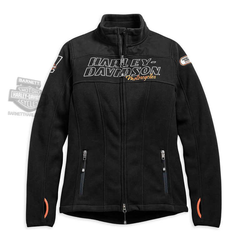 Harley-Davidson® Womens H-D Racing #1 B&S Mock Neck Black Casual Jacket