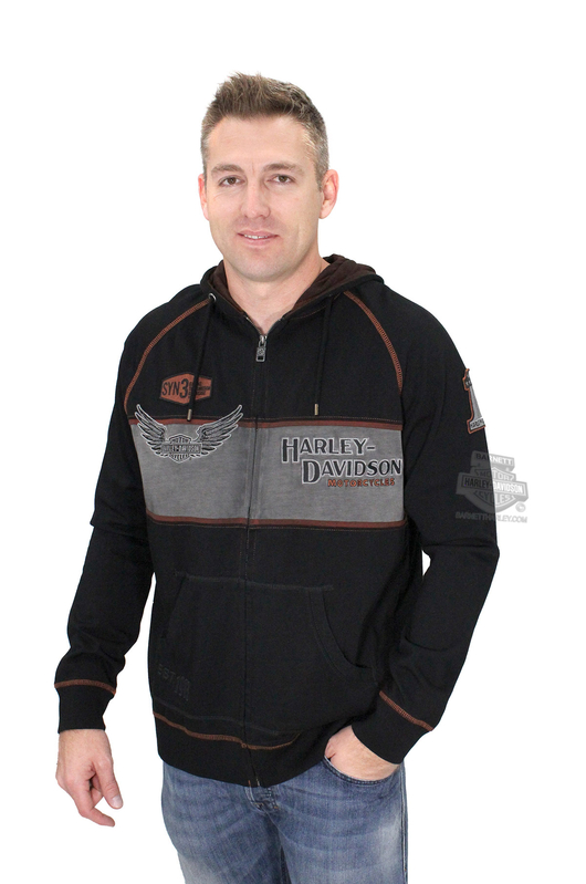 Harley-Davidson® Mens Iron Block Winged B&S Pigment Washed Full Zip Black Long Sleeve Hoodie
