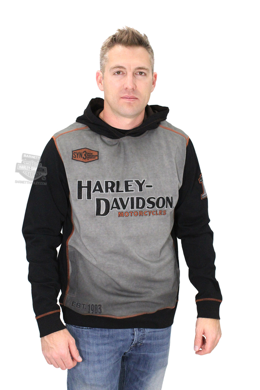 Harley-Davidson® Mens Iron Block Eagle B&S Pigment Washed Pullover Black Long Sleeve Hoodie