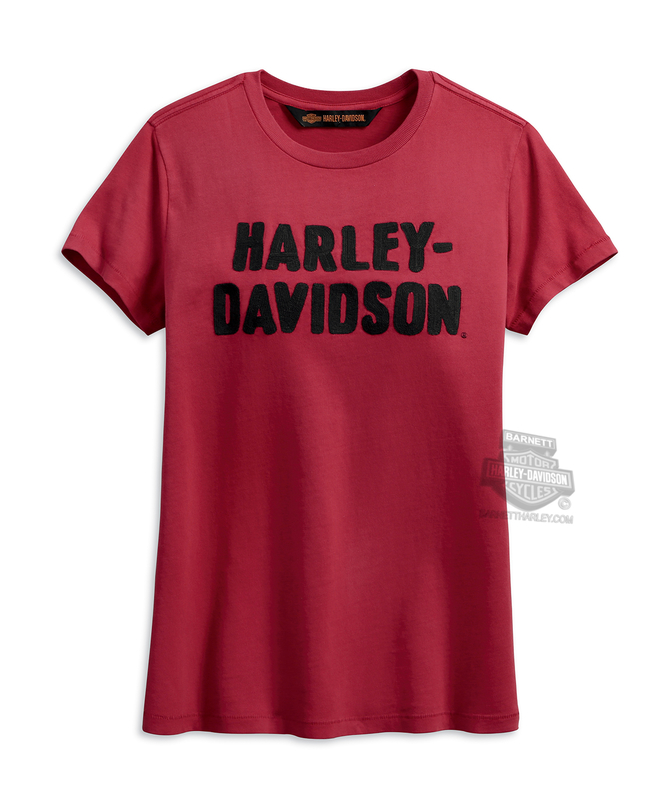 Harley-Davidson® Womens Chain Stitched H-D Name Garnet Short Sleeve T-Shirt