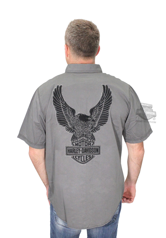 Harley-Davidson® Mens Genuine Classics Eagle B&S Contrast Stitch Charcoal Short Sleeve Woven Shirt *CIJ*