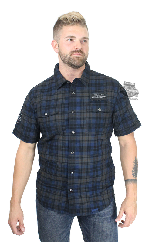 Harley-Davidson® Mens 115th Anniversary Washed Black Label Slim Fit Plaid Short Sleeve Woven Shirt