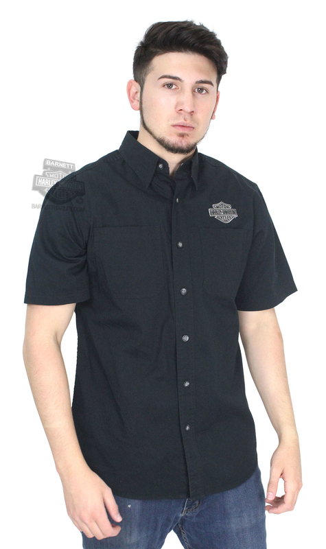 ** SIZE SMALL ONLY ** Harley-Davidson® Mens Embroidered B&S Logo Black Short Sleeve Woven Shirt