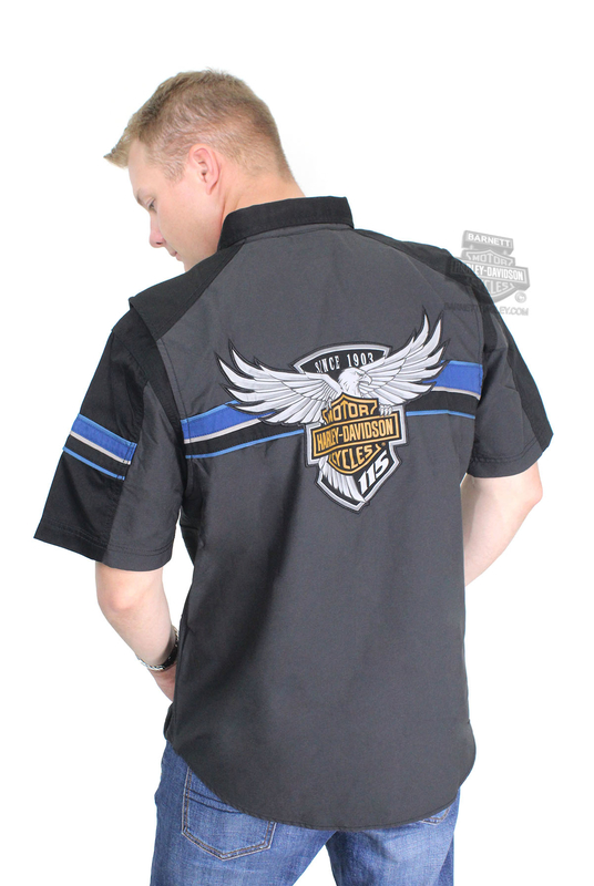 Harley-Davidson® Mens 115th Anniversary Performance Vented Charcoal Short Sleeve Woven Shirt