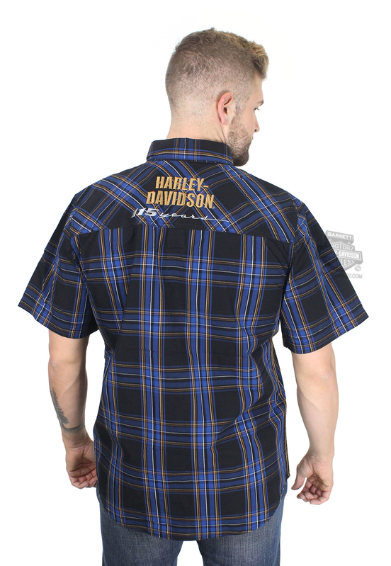 Harley-Davidson® Mens 115th Anniversary Enzyme Wash Plaid Short Sleeve Woven Shirt *CIJ*