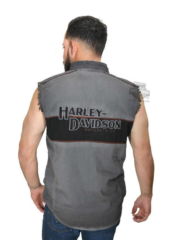 Harley-Davidson® Mens Iron Block Winged Trademark B&S Black Sleeveless Blowout