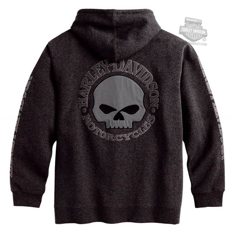 Harley-Davidson® Mens Willie G Skull Fleece Full Zip Grey Long Sleeve Hoodie