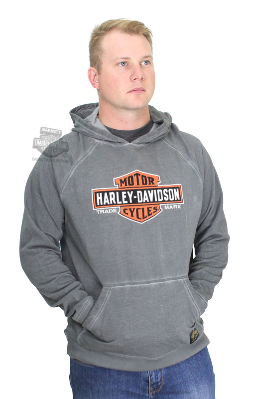 Harley-Davidson® Mens Genuine Classics Trademark B&S Pullover Grey Long Sleeve Hoodie