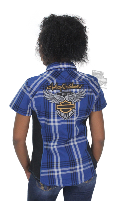 Harley-Davidson® Womens 115th Anniversary with Contrast Side Panels Navy Short Sleeve Woven Shirt *CIJ* *36HR*