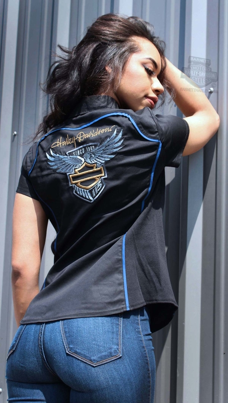 ** BIG SIZES ONLY ** H-D® Womens 115th Anniversary with Side Panels Zip Front Black Short Sleeve Woven Shirt *NJ19*