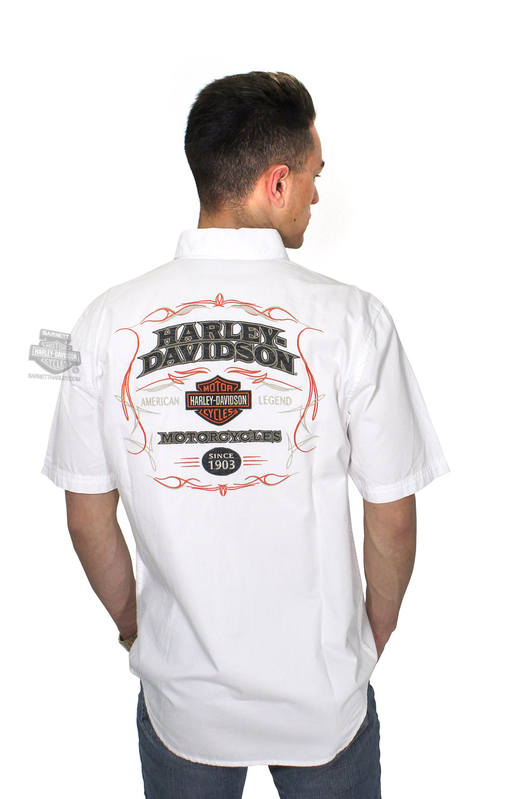 Harley-Davidson® Mens Pinstripe Flames with B&S Embroidered White Short Sleeve Woven Shirt