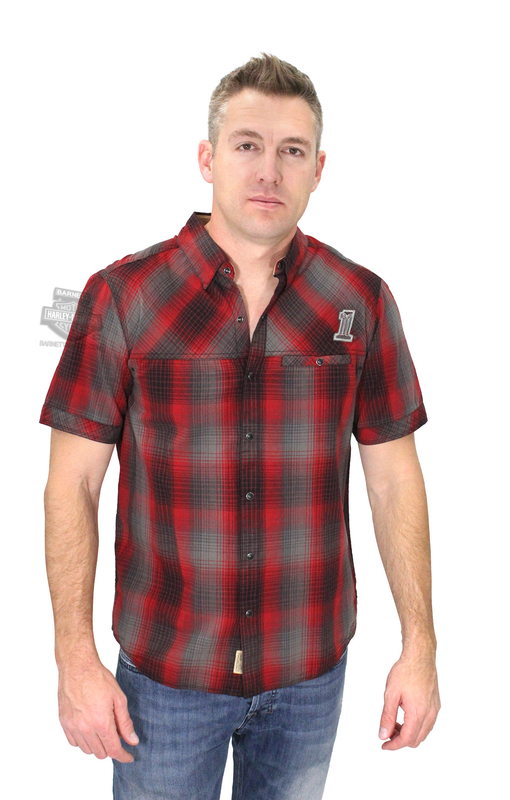 Harley-Davidson® Slim Fit Mens #1 Skull Snap Front Red Plaid Short Sleeve Woven Shirt