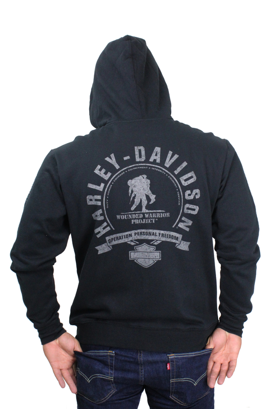 ** SMALL & BIG SIZES ONLY ** Harley-Davidson® Mens Wounded Warrior Project® #1 Logo Full Zip Black Long Sleeve Hoodie