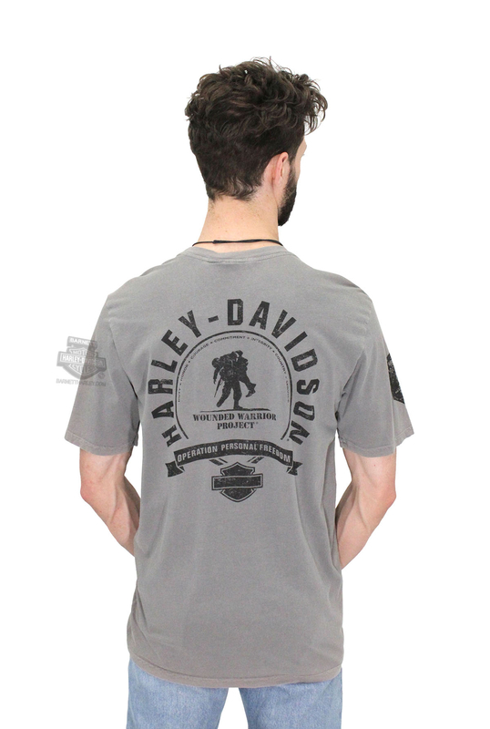 Harley-Davidson® Mens Wounded Warrior Project® #1 Logo Mineral Wash Grey Short Sleeve T-Shirt