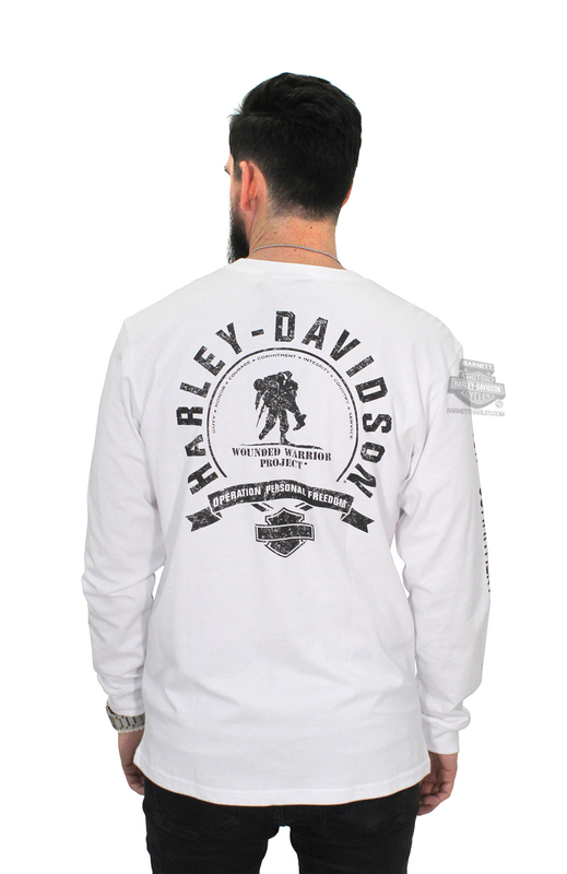 Harley-Davidson® Mens Wounded Warrior Project® #1 Logo White Long Sleeve T-Shirt