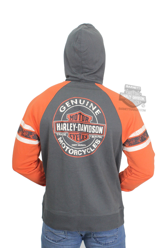Harley-Davidson® Mens Genuine Oil Can Trademark B&S Full Zip Charcoal Long Sleeve Hoodie