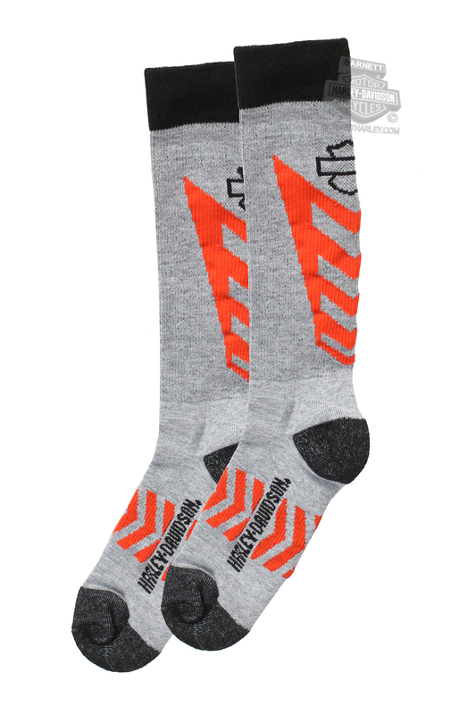 Harley-Davidson® Mens Mid Calf Coolmax® Performance Rider Grey Poly Blend Socks
