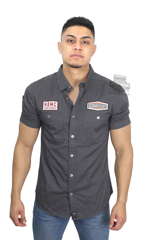 Harley-Davidson® Mens #1 Skull Patch Slim Fit Charcoal Short Sleeve Woven Shirt