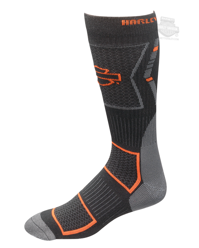 Harley-Davidson® Mens Performance Vented Riding Black Poly Blend Socks