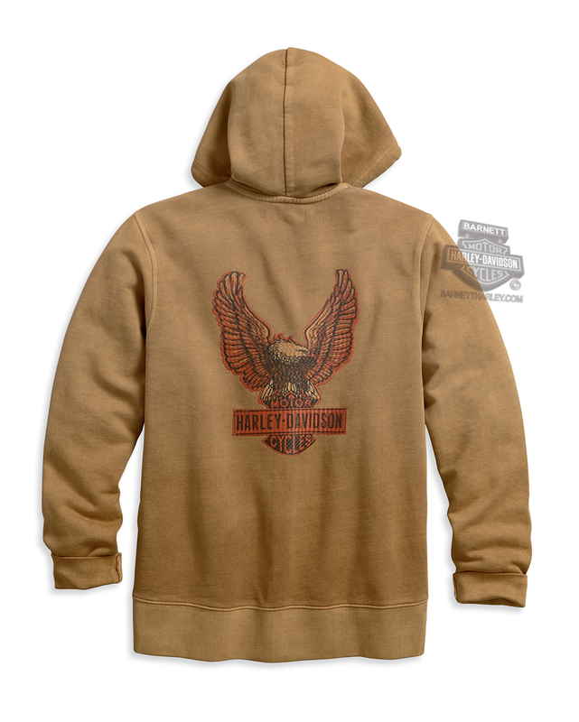 Harley-Davidson® Mens Upright Eagle Over Dyed Full Zip Slim Fit Khaki Long Sleeve Hoodie