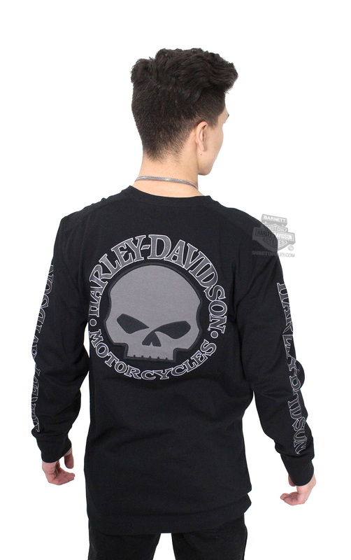 8dc642c4d04b Harley-Davidson® Mens Willie G Skull with Printed Sleeve Graphics Black  Long Sleeve T