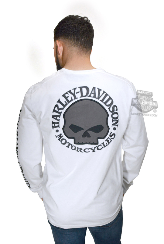 f66b5b78 Harley-Davidson® Mens Willie G Skull with Printed Sleeve Graphics White  Long Sleeve T