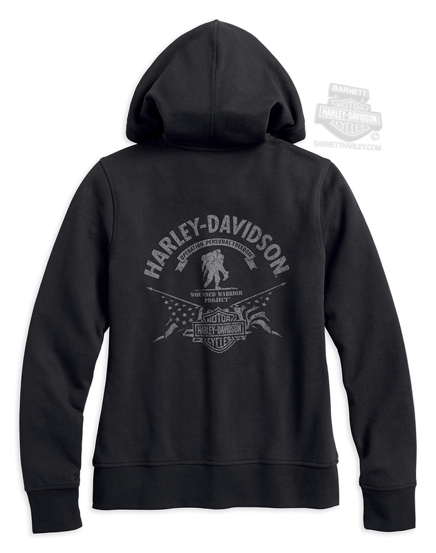 Harley-Davidson® Womens Wounded Warrior Project® Stars & Stripes Full Zip Black Long Sleeve Hoodie
